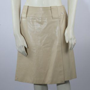 CHANEL  Cream Lambskin Leather A-Line Midi Skirt